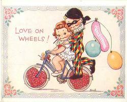 LOVE ON WHEELS boy in jester costume, holding balloons, doubles on the back of girl's bicycle