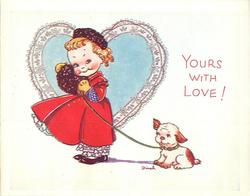 YOURS WITH LOVE girl facing left & looking forward, dog on leash behind her