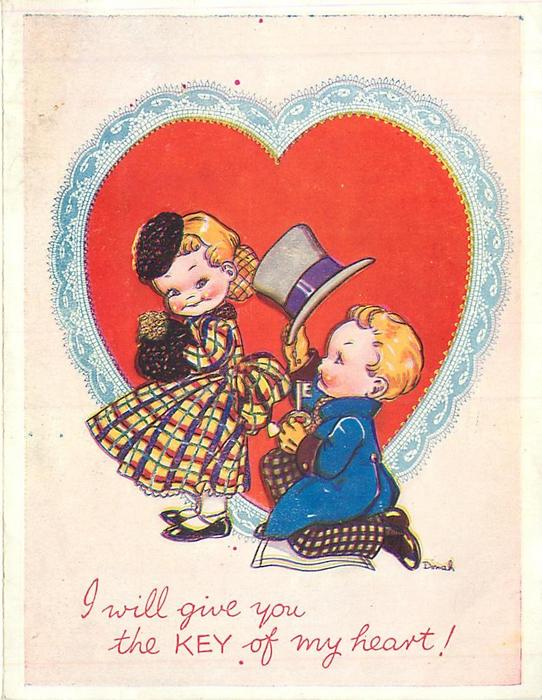 I WILL GIVE YOU THE KEY OF MY HEART! boy kneels behind girl offering 'key to his heart', pink background