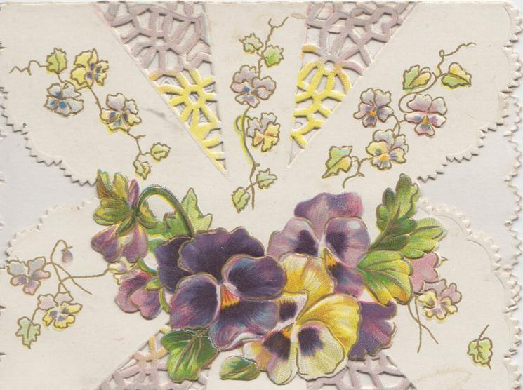 glitterd G in GREETINGS below purple pansies & yellow ribbon design on left flap, more pansies on right flap