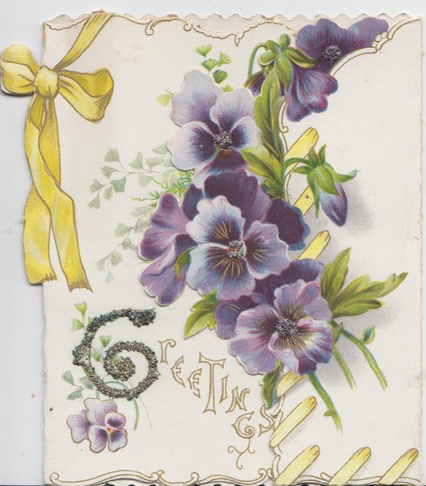 glittered G in GREETINGS below purple pansies & yellow ribbon design on left flap, more pansies on right flap