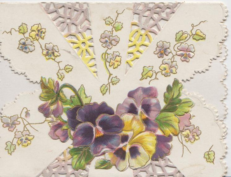 no front ti\tle, elaborate perforated design above multi-coloured pansies on top flap