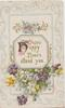 HAPPY HOURS ATTEND YOU in octagonal inset above multi-coloured pansies, designs around
