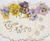 GOOD WISHES in gilt on left flap below multi-coloured pansies