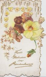 THERE'S GLADNESS IN REMEMBRANCE in gilt below bronze & yellow pansies, perforated design above