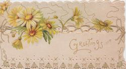 GREETINGS in gilt below,  perforated  yellow/white daisies  design on bottom edge, embossed