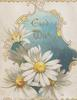 GOOD WISHES in gilt  in designed blue inset, white yellow-centred daisies front/left