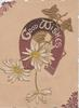 GOOD WISHES in white on purple horseshoe white daisies below, gilt ivy leaves, embossed