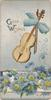 GOOD WISHES perforated blue daisies below violin & blue ribbon bow, pale blue background