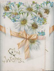 GOOD WISHES in gilt, glittered pale blue daisies & yellow ribbon above title