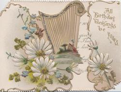 ALL BIRTHDAY BLESSINGS BE YOURS on right flap, white daisies below harp on left flap