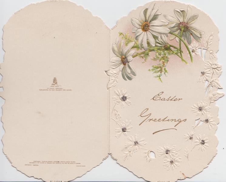 EASTER GREETINGS in gilt below glittered white daisies, embossed
