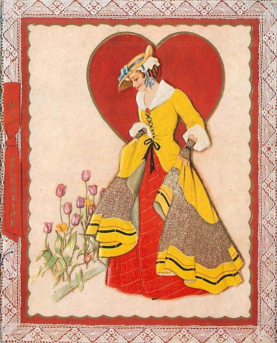 MY VALENTINE on red bow, lady faces part left, looking down at tulips, large red heart behind her