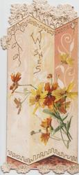 WISHES in gilt above bronze & yellow daisies designed & much perforated background