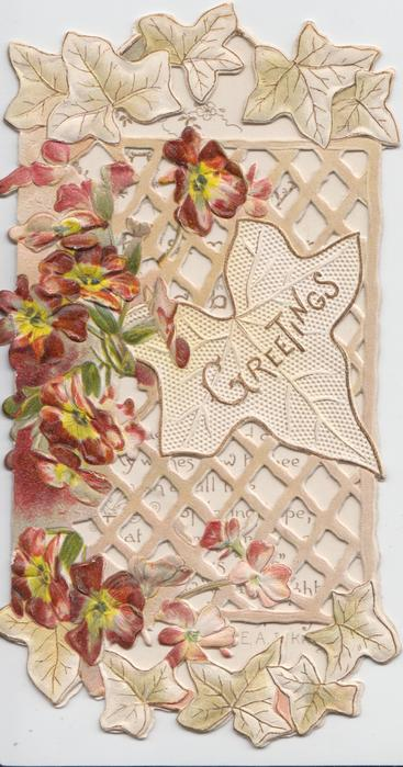 GREETINGS on stylised leaf, red & yellow dianthus on heavily perforated leafy design, stylised ivy above & below