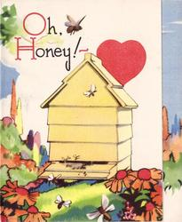 OH, HONEY!- large yellow beehive with red heart behind, orange coneflowers front