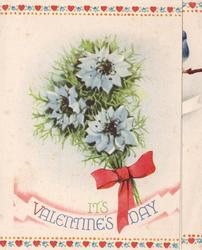 IT'S VALENTINES DAY 3 light blue cornflowers tied with red ribbon