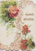 GOOD WISHES in gilt design above red & pink carnations  on right flap, more & stylised leaves  left flap