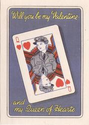 WILL YOU BE MY VALENTINE - AND MY QUEEN OF HEARTS playing card, women in grey uniform, blue background