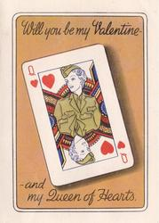 WILL YOU BE MY VALENTINE - AND MY QUEEN OF HEARTS playing card, woman in mustard uniform, amber background