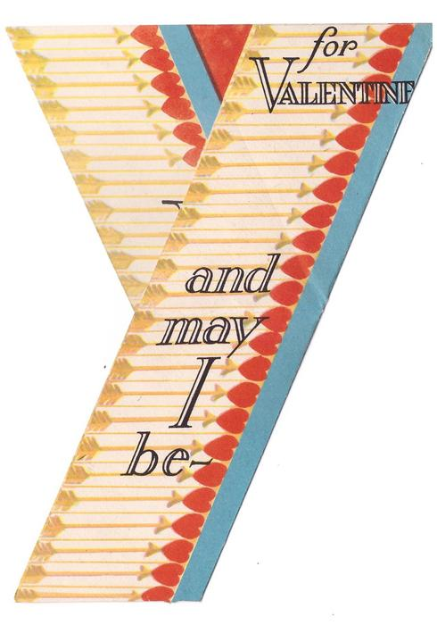 V FOR VICTORY (left)  'V' shaped card, horizontal stripes formed by arrows and hearts