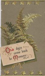 OLD DAYS COME BACK TO MEMORY (O & M iIluminated) green ferns behind on green background, stylised leaves top & bottom