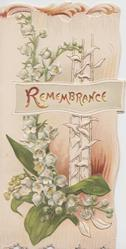 REMEMBRANCE in gilt on small central plaque  lilies of the valley below, perforated design