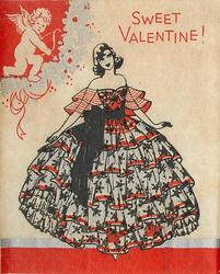SWEET VALENTINE! woman in off the shoulder ruffled dress with giant hoop skirt faces front, cupid upper left corner