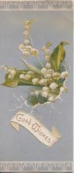 GOOD WISHES in gilt in white lower inset, lilies of the valley above, white designs on top & bottom margins