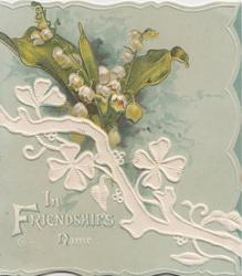 IN FRIENDSHIPS NAME in white below spray of  stylised shamrock & natural lilies of the valley