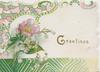 GREETING in gilt,  lilies of the valley  & single pink wild rose left, ornate design above, left & below