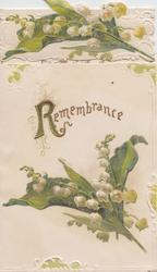 REMEMBRANCE (R illuminated) above lilies of the valley below, more lilies of the valley on top flap
