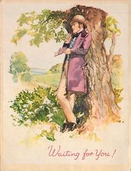 WAITING FOR YOU! man in plum waistcoat leans against tree, notebook in hand