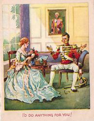 I'D DO ANYTHING FOR YOU! woman, sitting left, hand winds yarn with gentleman's assistance