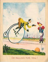 I'M FALLING FOR YOU man tips hat to lady to lady while riding toward her on pennyfarthing
