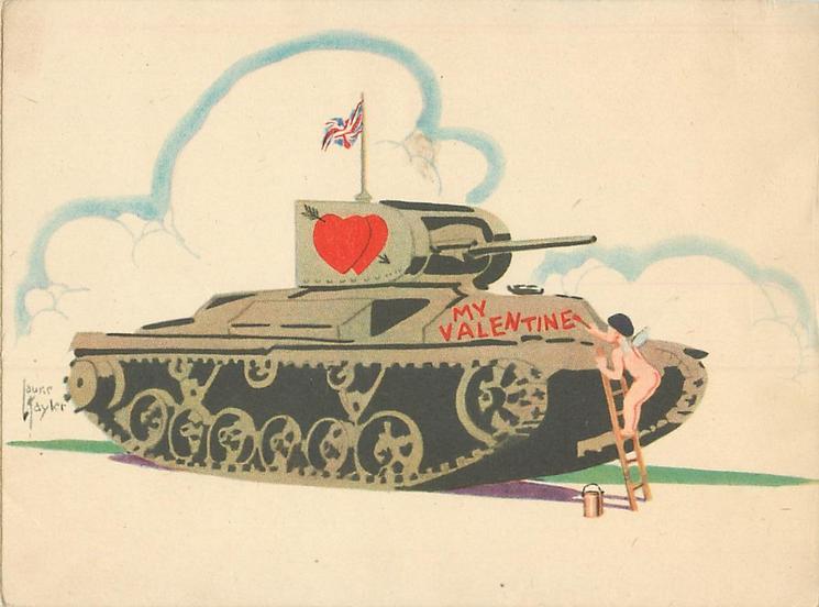 MY VALENTINE cupid paints Valentine message on tank