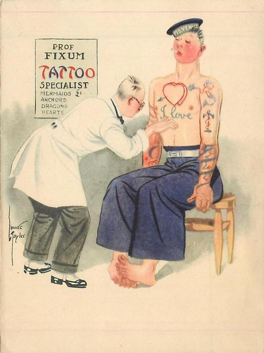PROF FIXUM TATTOO SPECIALIST doctor inspects sailor's tattoos