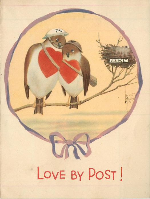 LOVE BY POST two love birds with red hearts on chest, perch on branch near nest, wearing helmets
