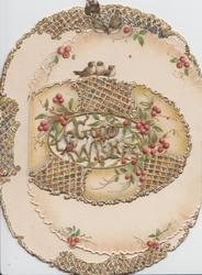 GOOD WISHES in gilt over perforation inset in oval, 3 blue-birds above all on small front flap, hawthorn, glittered, oval shape to card