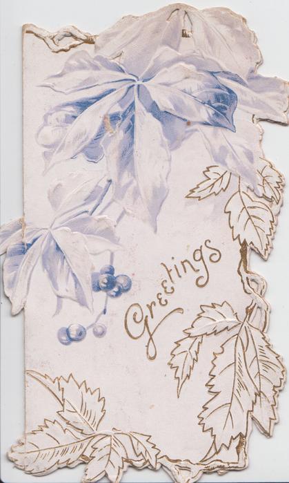 GREETINGS gilt below stylised in blue virginia creeper, leafy design right & below