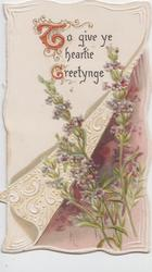 TO GIVE YE HEARTIE GREETYNGE (T &G Illuminated)  on white parchment, purple heather below right