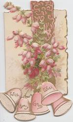 WITH EVERY GOOD WISH in gilt on bells, purple heather above in front of gilt design