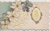intertwined letters HIS on oval inset with gilt border, anemones left, blue background, embossed