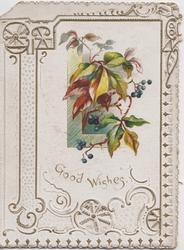 GOOD WISHES, ornate perforated design around virginia creeper leaves & blue berries upper right