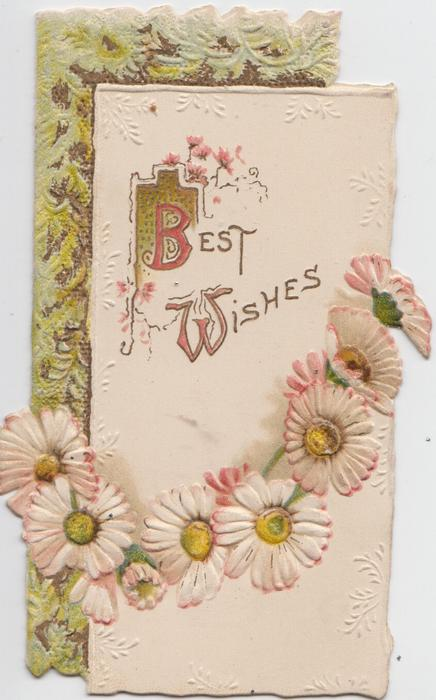 BEST WISHES (illuminated B& W) in gilt, chain of pink daisies below