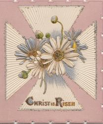 CHRIST IS RISEN white & silver daisies with glittered centre centrally on pale purple designed card, embossed