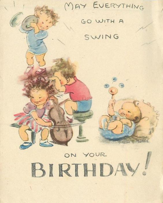 MAY EVERYTHING GO WITH A SWING ON YOUR BIRTHDAY! 4 children playing musical instruments