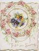 TO GIVE YOU GREETING in gilt, multicoloured  pansies in gilt bordered circular inset surrounded by pink blossom