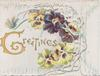 GREETINGS(illuminated G) in gilt,  multicoloured  pansies on right of perforated front flap