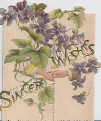 SINCERE WISHES among violets & leaves, male & female hands shake